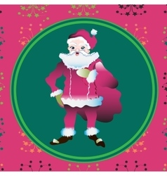 Portrait of a Santa Claus posing near bag gifts vector