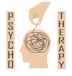 Psychotherapy and psychology help with depressive vector