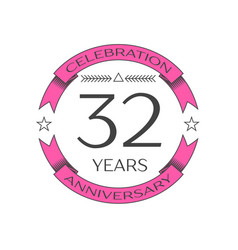 Realistic thirty two years anniversary celebration vector