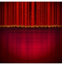 Red floor with red stage curtain vector