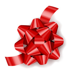 red realistic gift bow with ribbon decoration for vector image