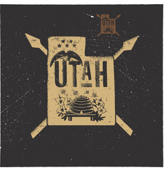 Retro utah poster with local symbols usa state vector