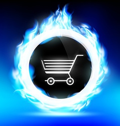 round button with a shopping trolley burns with a vector image