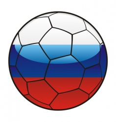 Russia flag on soccer ball vector