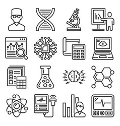 science chemistry and research icons set vector image