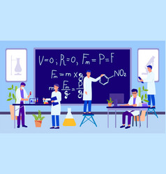 Science educational laboratory and working people vector