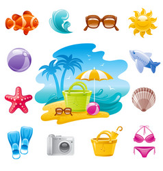 sea travel icons cartoon beach landscape trendy vector image