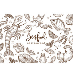 seafood restaurant sketch poster for menu or vector image