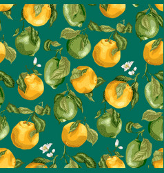 seamless pattern with fruits fresh oranges and vector image