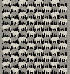 Seamless pattern with gray elephants on a black vector