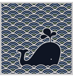 Seamless wavy pattern with blue whale vector image
