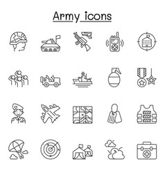 Set army related line icons contains vector
