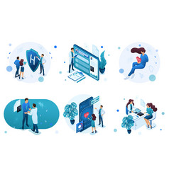 Set isometric concepts for advertising and vector
