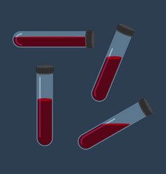 Set of different inclined test tube with blood vector