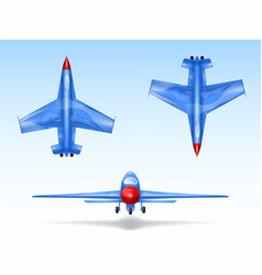 set of military aircrafts fighter jets vector image