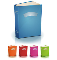 Set of standing books with label vector