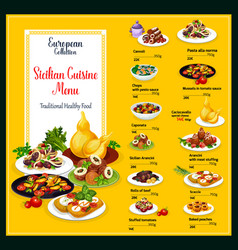 sicilian cuisine traditional food dishes menu vector image