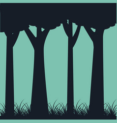 Silhouette of trunk trees weed landscape gree vector