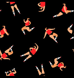 sport girl seamless pattern background vector image