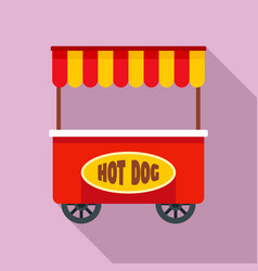 street cart hot dog icon flat style vector image