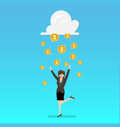 success business woman with cloud and money rain vector image