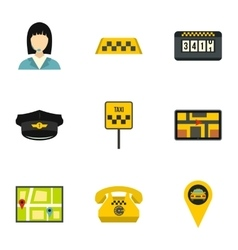 Taxi ride icons set flat style vector image