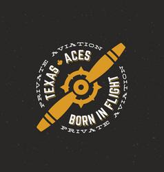 Texas aces airplane retro label sign vector