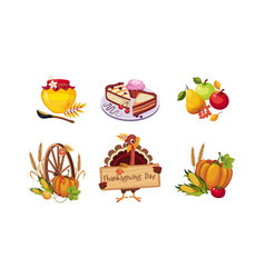 thanksgiving day design elements autumn symbols vector image
