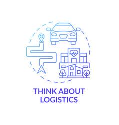 think about logistics blue gradient concept icon vector image