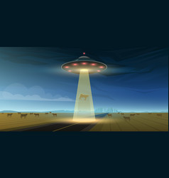 Ufo or flying saucer in space aliens launched vector