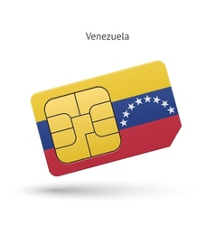 Venezuela mobile phone sim card with flag vector