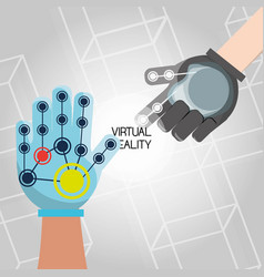 virtual reality game with futuristic technology vector image
