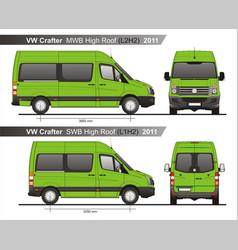 Volkswagen crafter passenger bus l2h2l1h2 2011 vector
