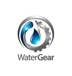 water gear logo concept design three dimensional vector image