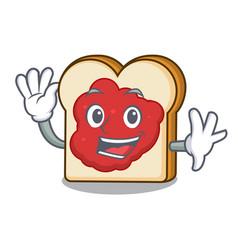 waving bread with jam character cartoon vector image