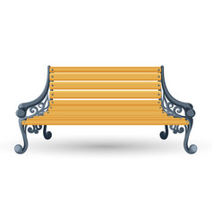 Wooden bench isolated on white background place vector
