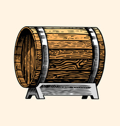 wooden oak barrel or cask with alcohol vessel vector image