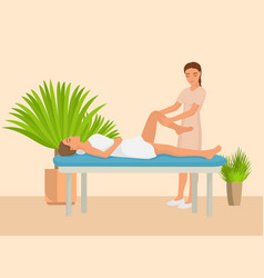 Young girl having hot stone massage vector
