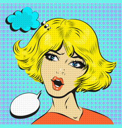 Blond woman shocked surprised pop art comic style vector