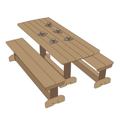 picnic table icon park background outdoor wood vector image