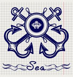 royal fleet emblem on notebook page vector image