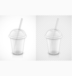 transparent plastic cup vector image vector image