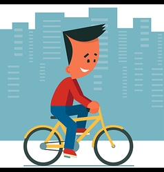 Young Man Riding Bicycle vector image