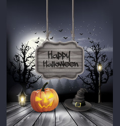 Halloween spooky background with wooden sign vector image