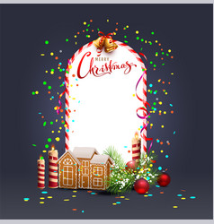 merry christmas template frame greeting card vector image vector image