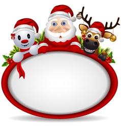 santa claus deer and snowman vector image vector image