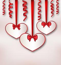 Set card heart shaped with silk ribbon bows and vector image