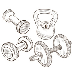 Dumbbells doodles vector image vector image