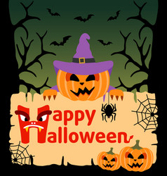 halloween background card with pumpkin vector image