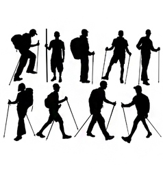Hiker silhouettes vector image